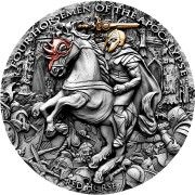 Niue Island RED HORSE series FOUR HORSEMEN OF THE APOCALYPSE $5 Silver Coin 2019 Antique finish Ultra High Relief Gold plated 2 oz